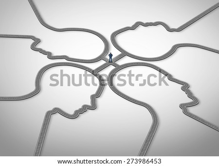 People management and social manager advisor or adviser business concept as a person standing on a group of connected roads that are shaped as a human face for public relations and human resources.