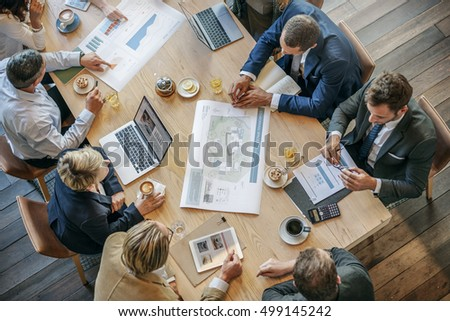People Meeting Brainstorming Blueprint Design Concept #499145242