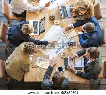 People Meeting Brainstorming Blueprint Design Concept #505630306