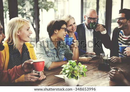 People Meeting Friendship Togetherness Coffee Shop Concept