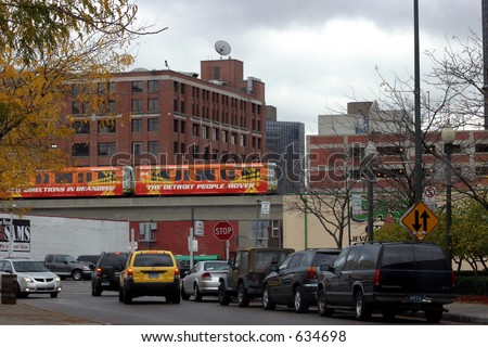People mover in downtown Detroit