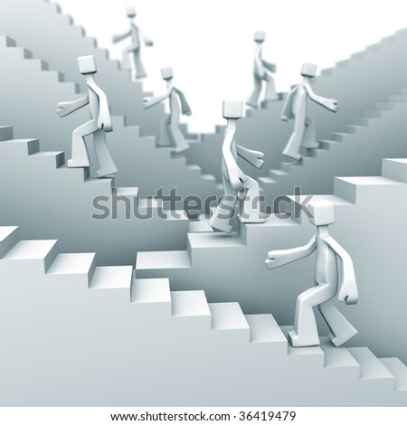 people moving up on staircase 3d illustration