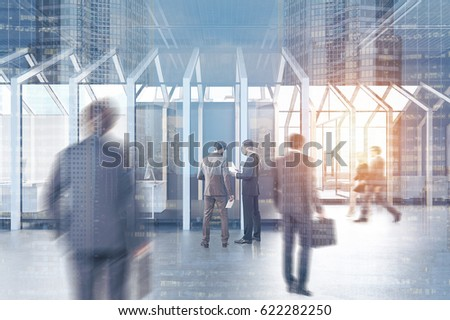 People near a house framed CEO office with a large table, a chair and two black guest armchairs standing in front of it. 3d rendering, toned image, double exposure. #622282250