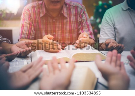 People of Christ congregations in prayer with upturned palms Holy Scriptures blessings of God. Everyone worked together to the Church, The concept of spirituality and religion.
