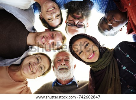 People of different ages and nationalities having fun together