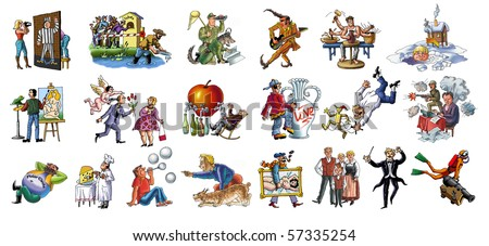 People of different trades. Hand drawing and computer processing. - stock photo