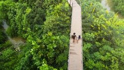 people of man and girl in top view walk at wooden sky walkway in forest with trees and river.(aerial forrest view)