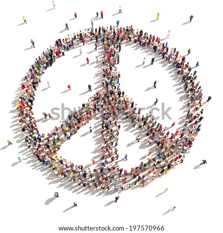 People of peace. Hundreds of people that support peace on a white background.