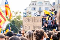 People on a demonstration asking for freedom of expression and justice against for fascism. Stop repression. Catalan independence movement. Freedom Pablo Hasel. Anti-fascist.