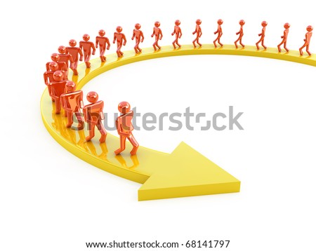 People on arrow moving forward. 3d concept isolated on white