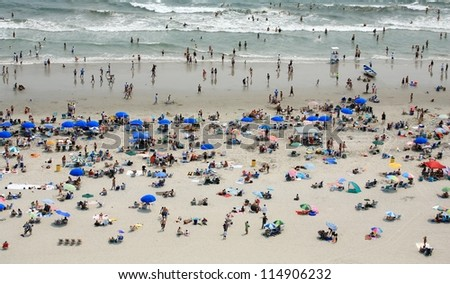 People on crowded beach