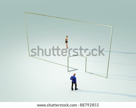 people on different sides of the wall