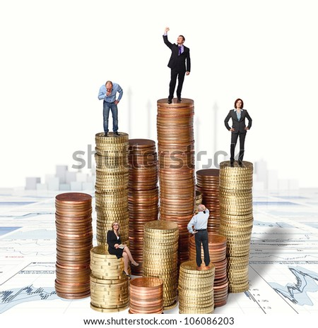 people on euro coin pile and 3d background