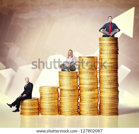 people on euro coin piles and chart background