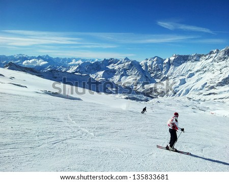 people on slope on the skiing resort