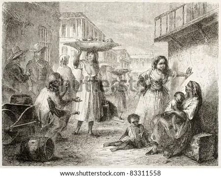 People on street, Havana. Created by Pottin, published on Le Tour du Monde, Paris, 1860