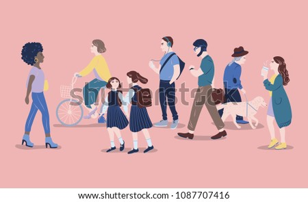 People on street. Men and women of different age passing by, walking, standing, riding bicycle, listen to music. Modern city dwellers, urban lifestyle. Hand drawn illustration