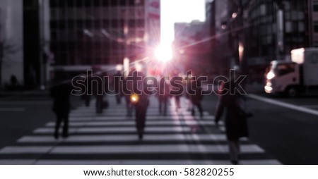People on street with beautiful morning light, Tokyo, Japan. Shoot in vintage color tone.