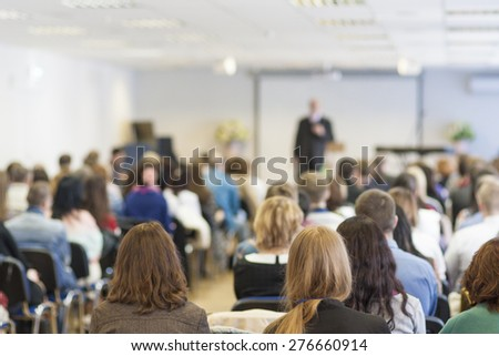 People on the Conference Listening to the Lecturer. Back View. Horizontal Image Composition #276660914