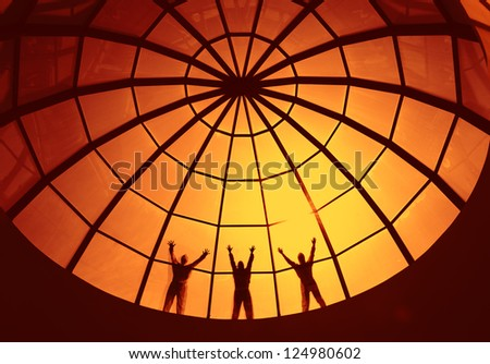 People on the glass dome