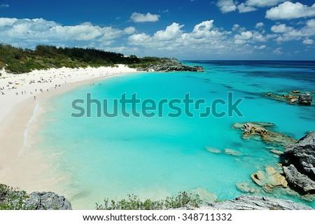 People on vacation in Pink Sand beach Bermuda Сток-фото ©
