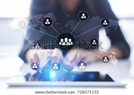 People organisation structure. HR. Human resources and recruitment. Communication and internet technology. Business concept.