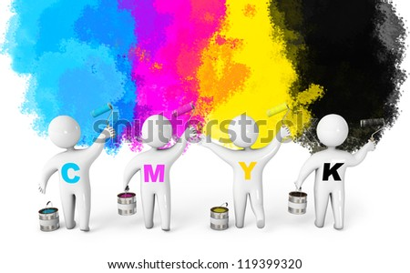 People paint the walls in colorful colors. Paint roller and a bucket. CMYK concept. 3d render