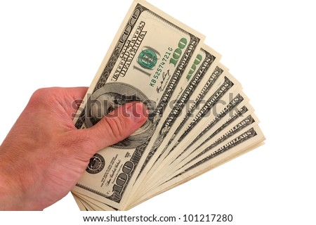 people palm taking pack of dollars