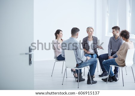 People participating in group therapy for social skills training