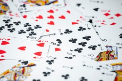 People play card games. Gambling concept. Poker games concept. Isolated