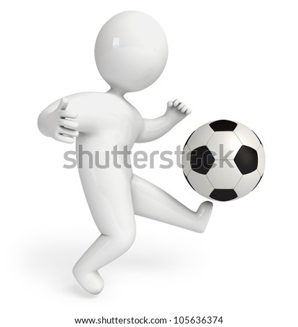 People playing football. White background. 3d render