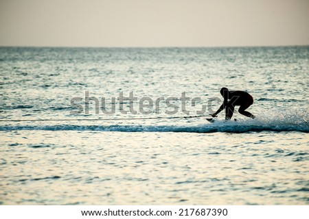 people playng surf on a wave at sunset  #217687390