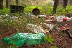 People polluting Earth, littered green forest, empty bottles lying on earth, environment pollution, start recycling, protect our planet