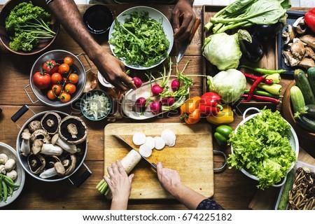 People prepare a fresh vegetable #674225182