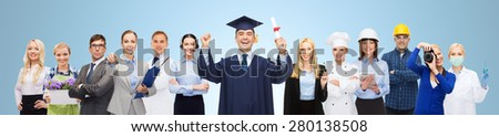 people, profession, education and success concept - happy bachelor with diploma over different workers and blue background