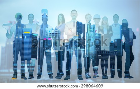 people, profession, qualification, employment and success concept - happy businessman over group of professional workers over city background