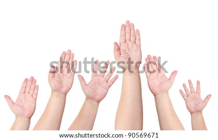 People raise their hand to volunteer isolated on white background