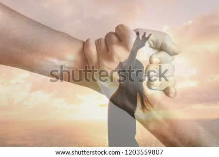 People reaching out for help. Lending a helping hand, and rehabilitation concept.  Stock fotó ©