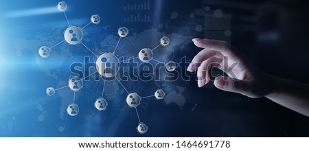 People relations network on virtual screen. Customer communication and social media concept.