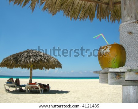 people relaxing under tropical huts with coconut in the foreground