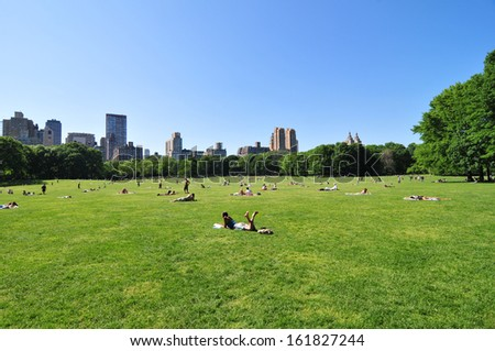 People resting at Central Park, New York City, USA