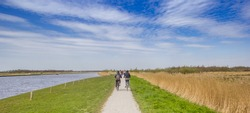 People riding their bicycle in the nature reserve of Alde Feanen in Friesland, Netherlands
