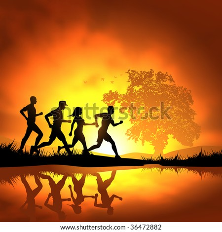 stock photo : People running cross country. Vector illustration.