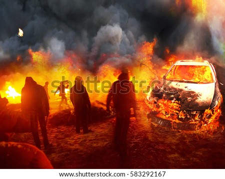 Photo of  People's insurgents in urban combat with government forces commandos burning cars and tires prevents fire and smoke shooting sighting sniper army against the backdrop of the ruined city
