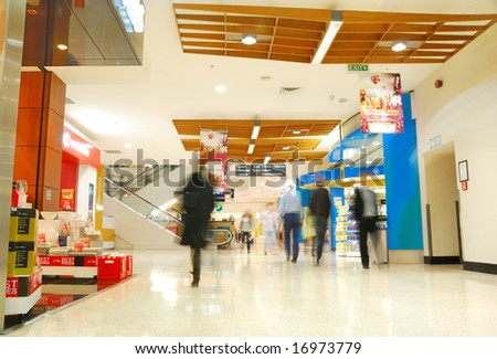 people's motion in busy shopping mall