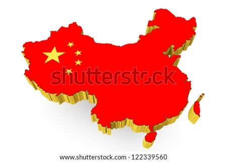 People's Republic of China map with flag on a white background