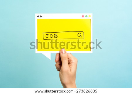 People searching for a new job. Job search concept on blue background.