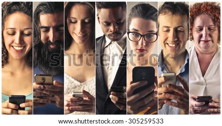 People sending sms with their phones