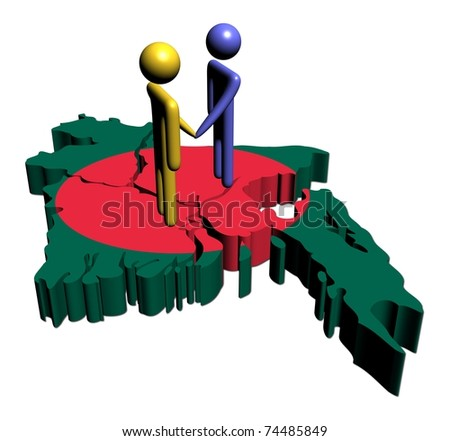 people shaking hands with Bangladesh map flag illustration