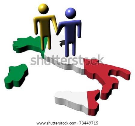 people shaking hands with Italy map flag illustration